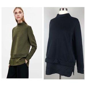 COS Black High Neck Sweatshirt with Silk Panel